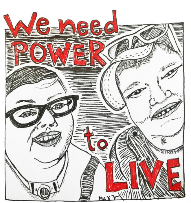 "[iD: drawing by Max Airborne of themself with #DisabilityJustice activist Stacey Park, smiling & happy after getting ice cream. Red words say ""we need power to live.""]"