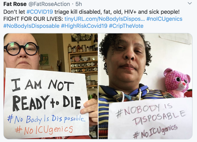 #NoBodyIsDisposable Campaign Against Discrimination in Triage