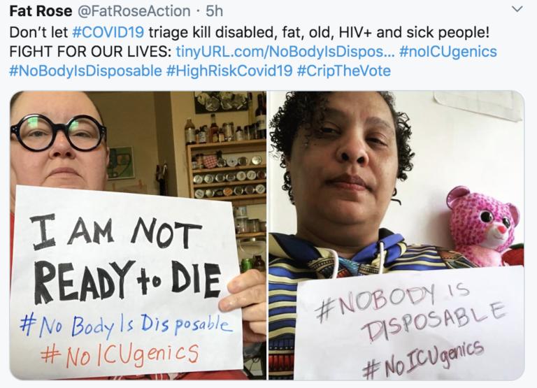 #NoBodyIsDisposable Campaign Against Discrimination in Triage