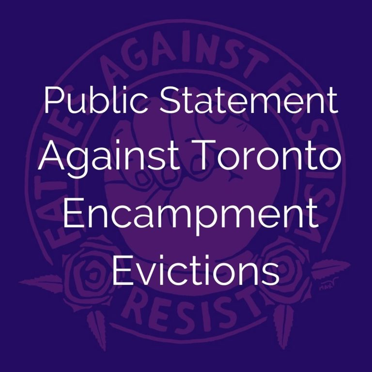 Public Statement Against Toronto Encampment Evictions